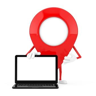 Mappa puntatore pin mascotte di carattere con moderno computer portatile notebook e schermo vuoto per il tuo design su uno sfondo bianco. rendering 3d