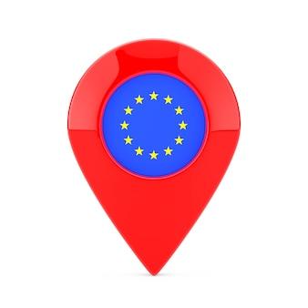 Perno del puntatore della mappa con la bandiera dell'unione europea su una priorità bassa bianca. rendering 3d