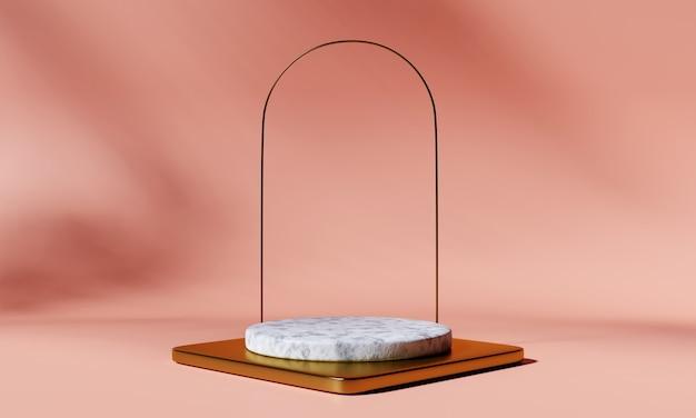 Podio prodotto in marmo e oro con arco su sfondo rosa. rappresentazione 3d.
