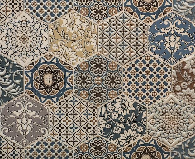 Piastrella da parete per cucina in marmo con trama di carta vintage con motivo geometrico astratto a mosaico mosaic