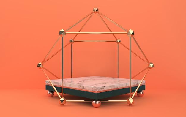 Piedistallo in marmo all'interno della gabbia dorata, gruppo di forme geometriche astratte, sfondo arancione, rendering 3d, scena con forme geometriche, scena minimalista di moda