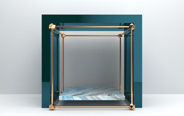 Piedistallo in marmo all'interno della gabbia dorata, presentazione all'interno del portale di vetro blu, insieme di gruppi di forme geometriche astratte, sfondo bianco, rendering 3d, scena con forme geometriche