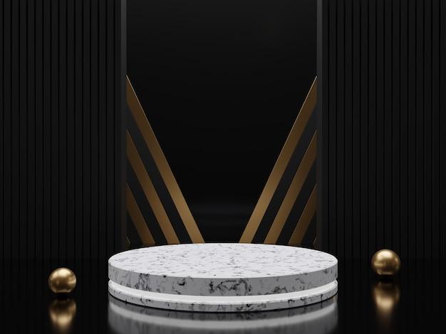 Piedistalli o podi in marmo con cornici dorate e decoro 3d rendering