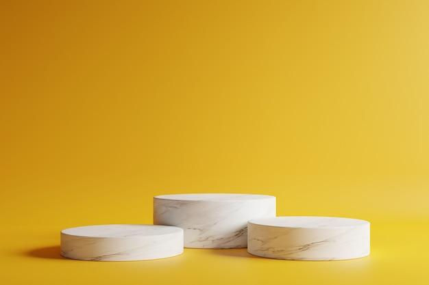 Podio in marmo a forma di cerchio con un bellissimo sfondo giallo scuro.