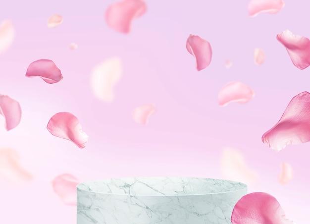 Podio in marmo e design di rose petalo