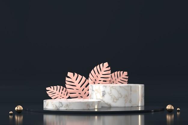 Podio in marmo per vetrina di esposizione del prodotto con decorazione 3d di foglie di monstera