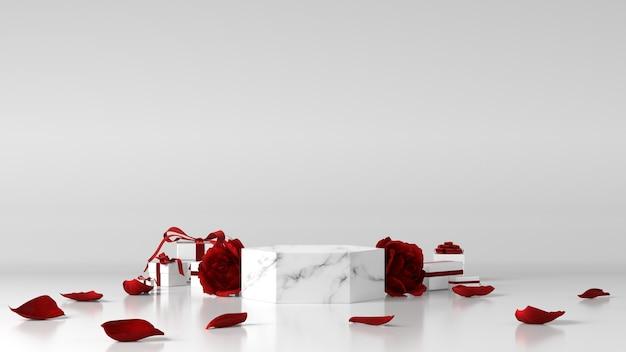Podio in marmo per posizionamento prodotto decorato con rose e scatole regalo