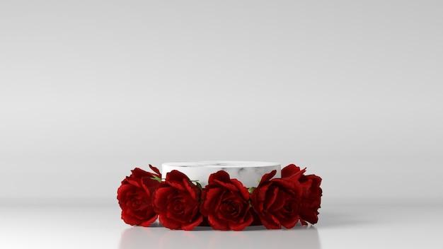 Podio in marmo per posizionamento prodotto decorato con rosa