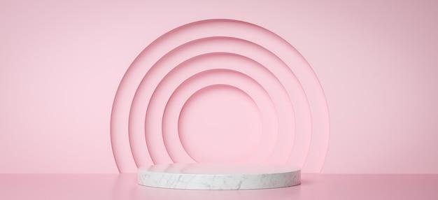 Podio in marmo per la presentazione del prodotto con cerchi rosa, rendering 3d sfondo