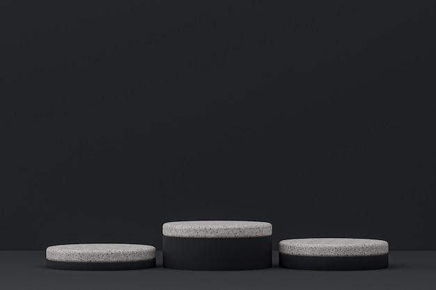 Scaffale in marmo o stand prodotto vuoto in stile minimale su sfondo nero per la presentazione di prodotti cosmetici.
