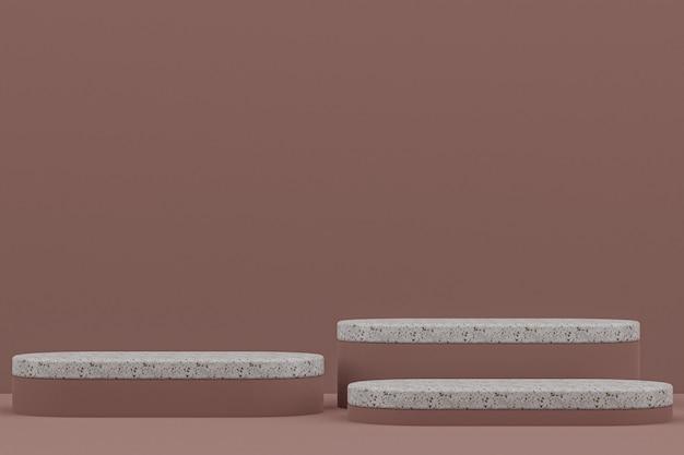 Scaffale in marmo o stand prodotto vuoto in stile minimale su sfondo marrone per la presentazione di prodotti cosmetici.