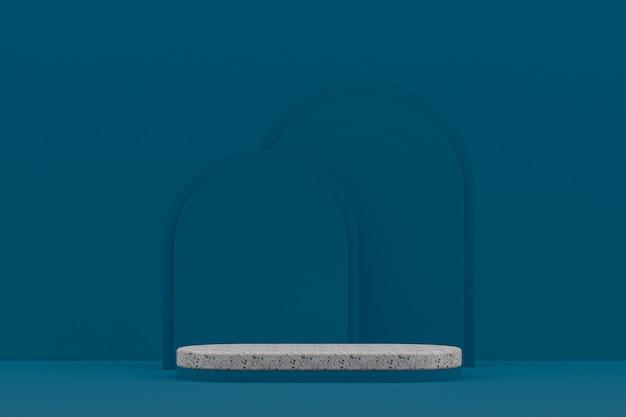 Scaffale in marmo o stand prodotto vuoto in stile minimale su sfondo blu scuro per la presentazione di prodotti cosmetici.