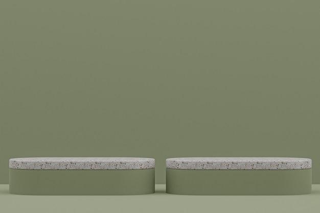Scaffale in marmo o stand prodotto vuoto in stile minimale su sfondo verde per la presentazione di prodotti cosmetici.