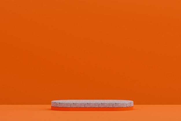 Scaffale in marmo o stand prodotto vuoto in stile minimale su sfondo arancione per la presentazione di prodotti cosmetici.