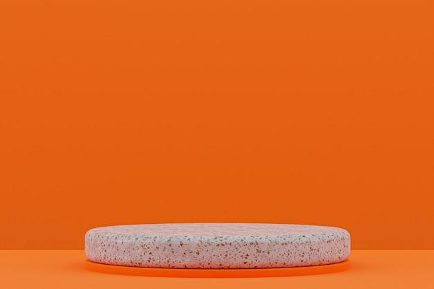 Mensola del podio in marmo o supporto del prodotto vuoto in stile minimal su sfondo arancione per la presentazione del prodotto cosmetico.