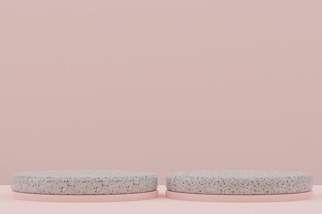 Scaffale in marmo o stand prodotto vuoto in stile minimale su sfondo rosa per la presentazione di prodotti cosmetici.