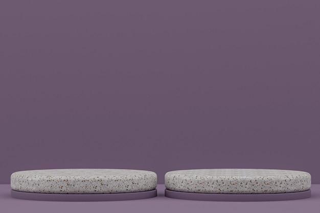 Scaffale in marmo o stand prodotto vuoto in stile minimale su sfondo viola per la presentazione di prodotti cosmetici.
