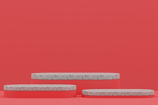 Scaffale in marmo o stand prodotto vuoto in stile minimale su sfondo rosso per la presentazione di prodotti cosmetici.