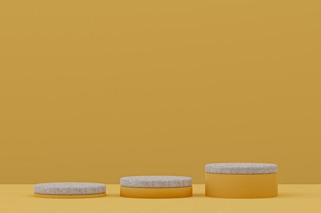 Scaffale in marmo o stand prodotto vuoto in stile minimale su sfondo giallo per la presentazione di prodotti cosmetici.