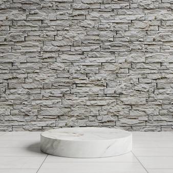 Podio in marmo su un pavimento piastrellato bianco con muro di mattoni grigi