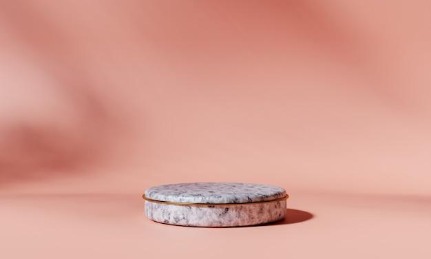 Podio prodotto in marmo con anello dorato su sfondo rosa. rappresentazione 3d.