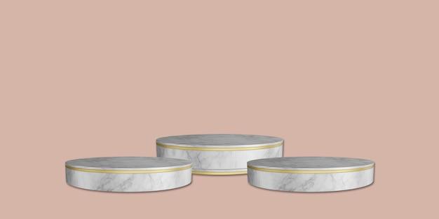 Il supporto in marmo e il trofeo stanno sullo sfondo rosa 3d'illustrazione