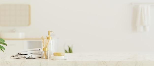 Piano del tavolo in marmo con accessori da bagno per il montaggio del display su sfondo bianco sfocato del bagno, rendering 3d, illustrazione 3d