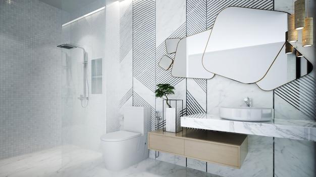 Bagno e toilette e decorazione della parete delle mattonelle di marmo, mock up interni, rendering 3d