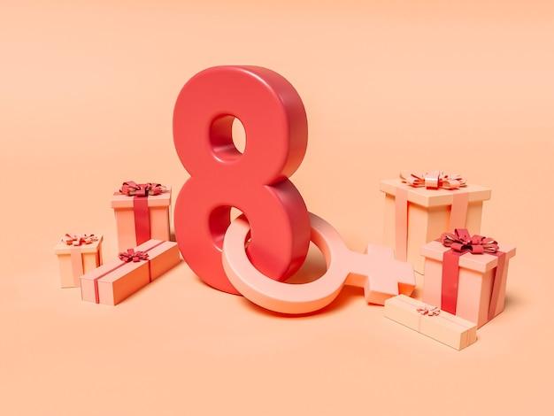 8 marzo illustrazione 3d con un otto con simbolo femminile e doni. concetto di giornata internazionale della donna.