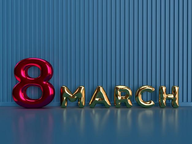 8 marzo. giornata internazionale della donna. rendering 3d