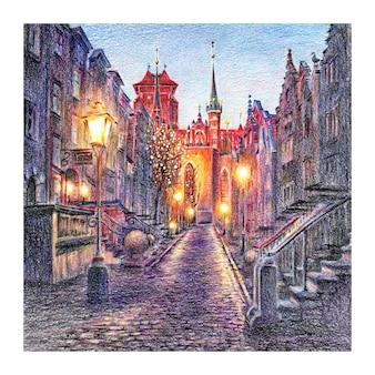 Via mariacka nella città vecchia di danzica, polonia