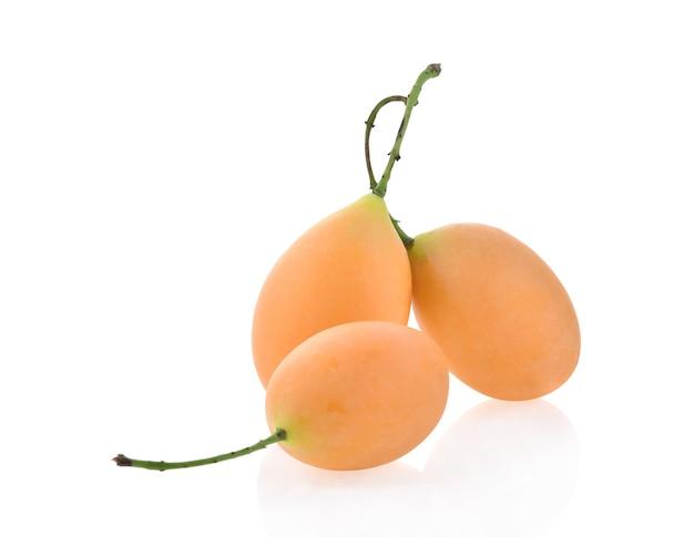 Prugna mariana o frutto tailandese plango isolato (mayongchid maprang marian plum and plum mango, thailandia).