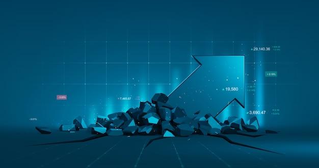 Grafico di mercato di affari e grafico azionario freccia o dati finanziari di investimento profitto sullo sfondo del diagramma di denaro di crescita con informazioni di scambio del diagramma. rappresentazione 3d.