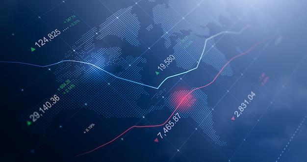 Grafico di mercato del grafico azionario incandescente aziendale o profitto dei dati finanziari di investimento sullo sfondo del display dello schermo digitale con informazioni di scambio del diagramma. rappresentazione 3d.