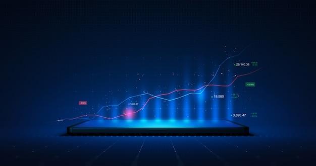 Grafico di mercato del grafico azionario incandescente aziendale o profitto dei dati finanziari di investimento sullo sfondo del display dello schermo del tablet digitale con informazioni di scambio del diagramma. rappresentazione 3d.