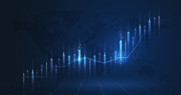 Il grafico del mercato dell'attività aumenta il grafico azionario o i dati finanziari degli investimenti sullo sfondo del diagramma di crescita dei soldi con il diagramma di successo scambia informazioni