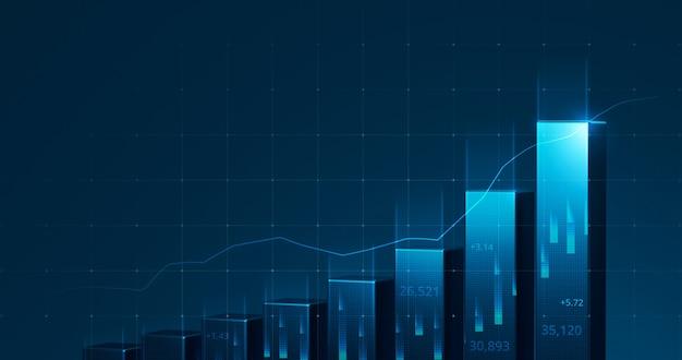 Grafico di mercato del grafico azionario aziendale o profitto dei dati finanziari di investimento sullo sfondo del diagramma di crescita dei soldi con informazioni di scambio del diagramma. rappresentazione 3d.