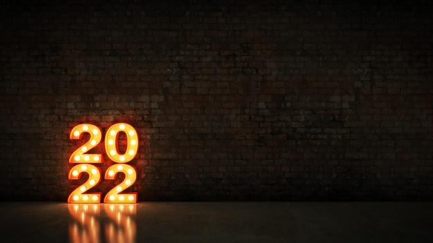 Marquee light 2022 segno della lettera nuovo anno 2022 rendering 3d