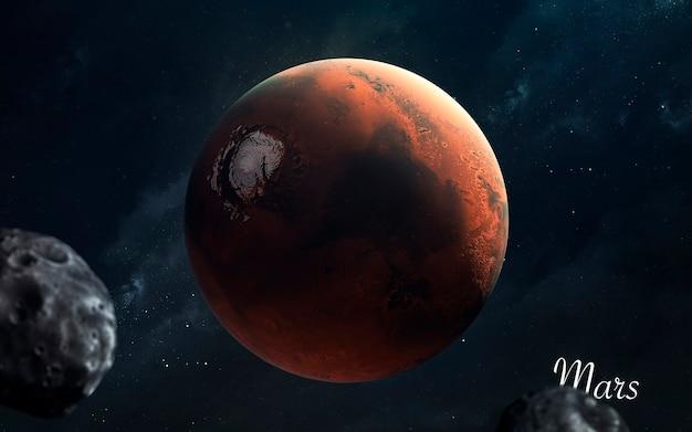Marte. pianeti di qualità impressionante del sistema solare. perfetta immagine scientifica in 5k. elementi di questa immagine forniti dalla nasa