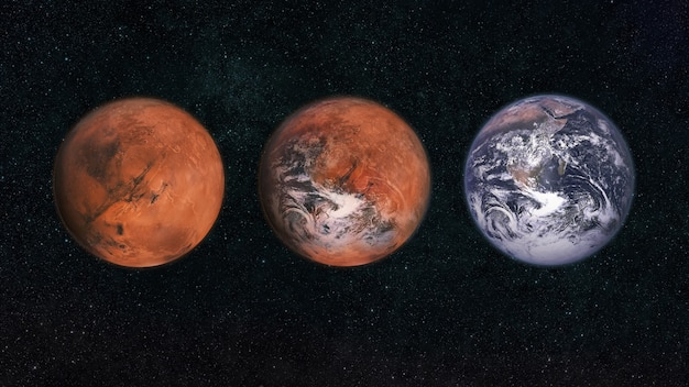 Marte e terra nello spazio. trasforma il pianeta marte nel pianeta terra