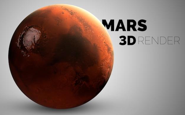 Marte. set di pianeti del sistema solare resi in 3d. elementi di questa immagine forniti dalla nasa