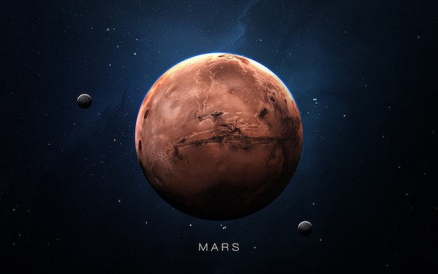 Marte nello spazio, illustrazione 3d. .