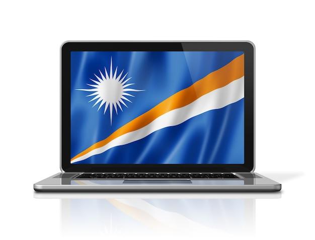 Bandiera delle isole marshall sullo schermo del computer portatile isolato su bianco. rendering di illustrazione 3d.