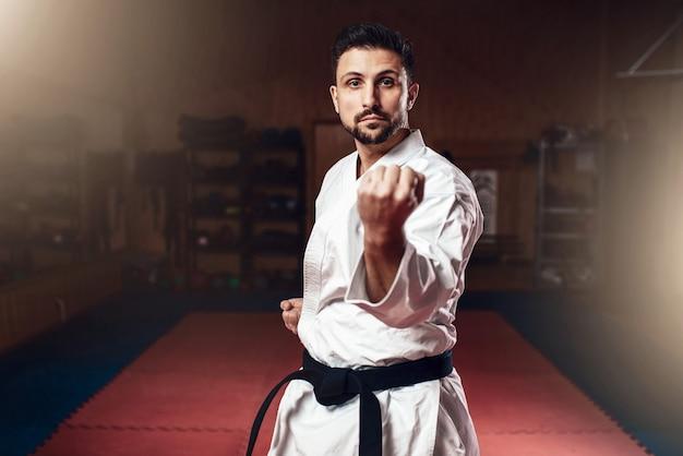 Arti marziali, combattente in kimono bianco, cintura nera
