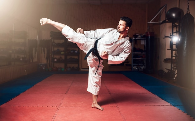 Arti marziali, uomo in kimono bianco con cintura nera
