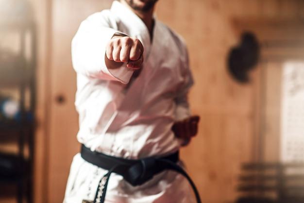 Maestro di arti marziali su allenamento di combattimento in palestra