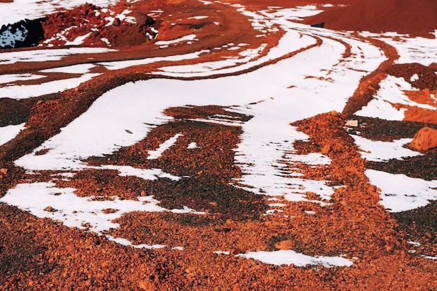Paesaggi marziani in islanda il cratere rosso del vulcano seydisholar la cava di terra rossa