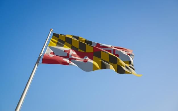 Angolo basso della bandiera dello stato degli stati uniti del maryland. grafica 3d