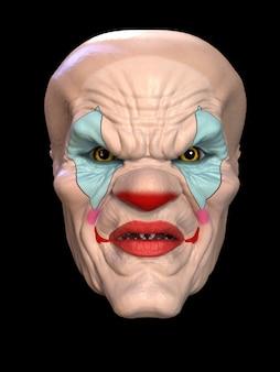 La maschera di un cattivo clown. illustrazione 3d