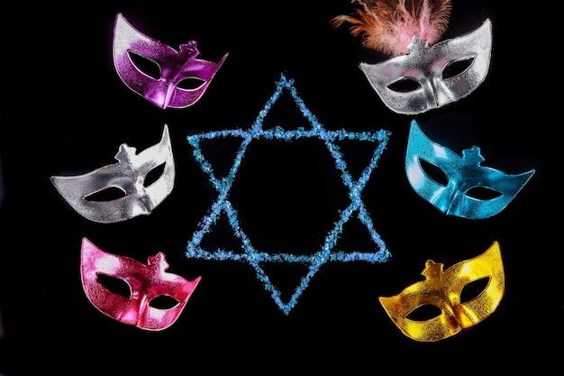 Maschere per la celebrazione festa di carnevale ebraico purim.